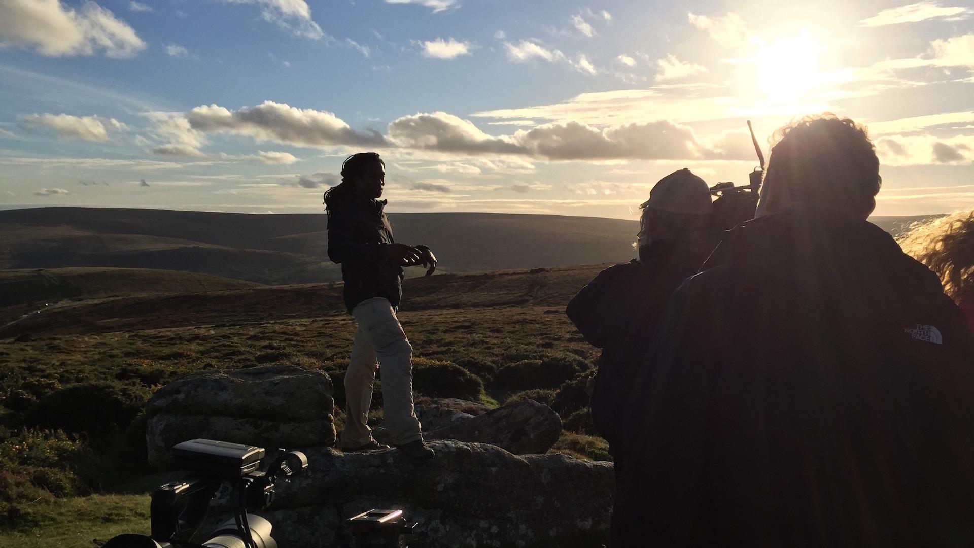 Presenter Nigel Clarke on set of 'The Good Dinosaur - Access All Areas' Filmed in Dartmoor