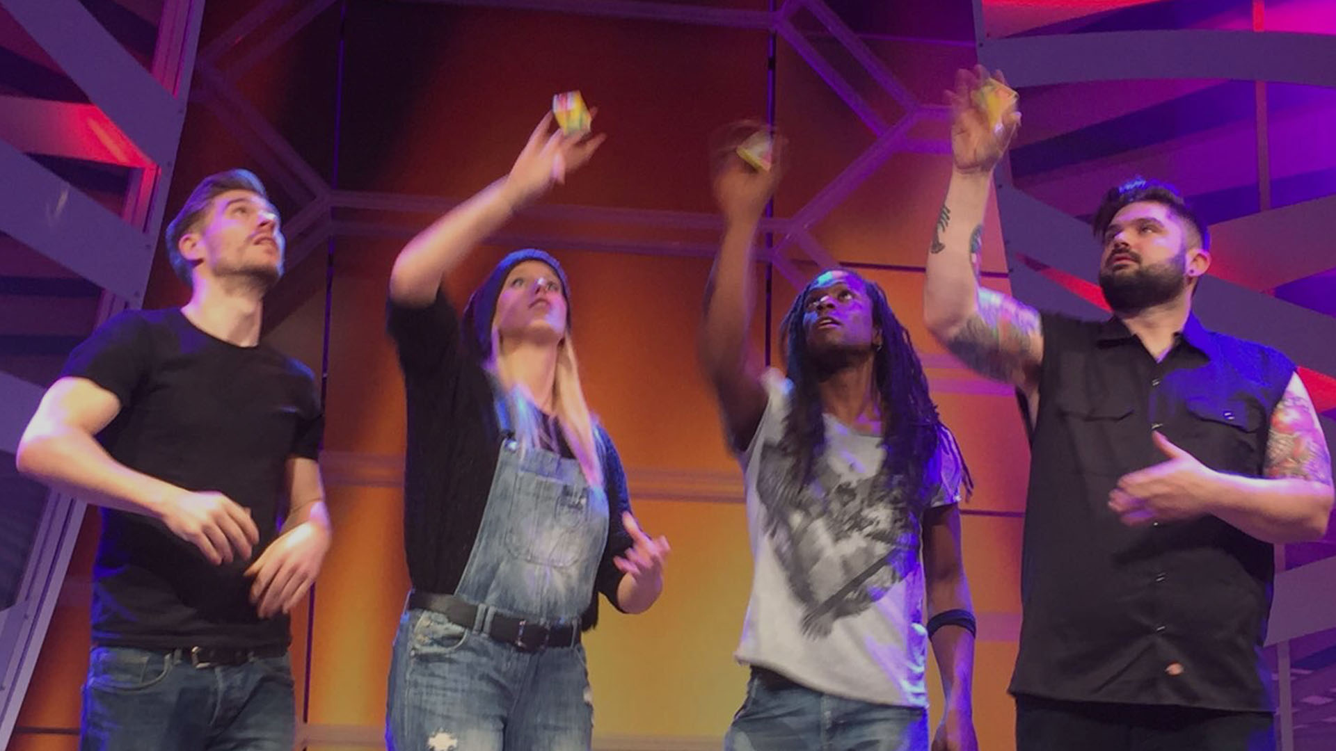 Stomp perform on 'Tijd voor Max' to promote Stomp in Holland - Rob Shaw, Chelsey Jane Foster, Nigel Clarke, Andy Patrick