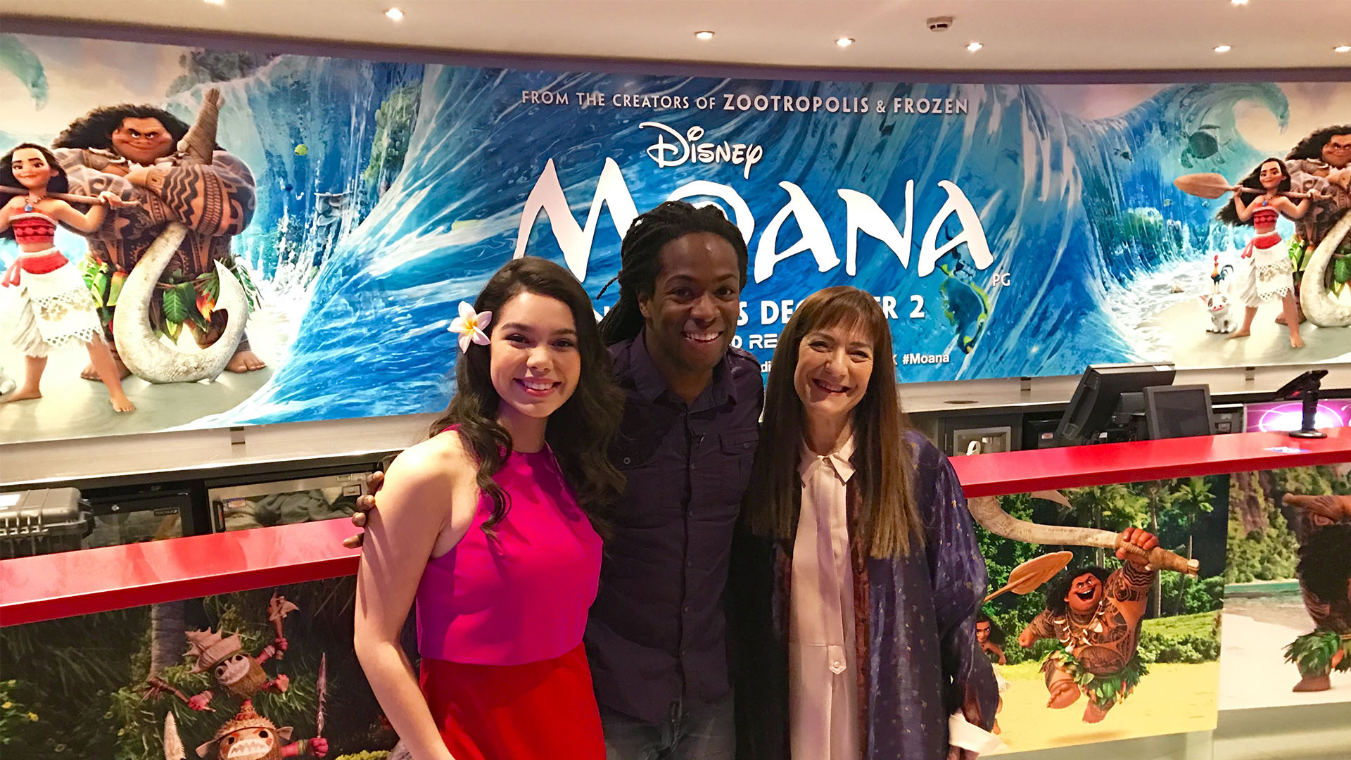 Auli'i Cravalho, Nigel Clarke and Osnat Shurer at Disney's Moana Multimedia screening - Nigel Clarke Blog