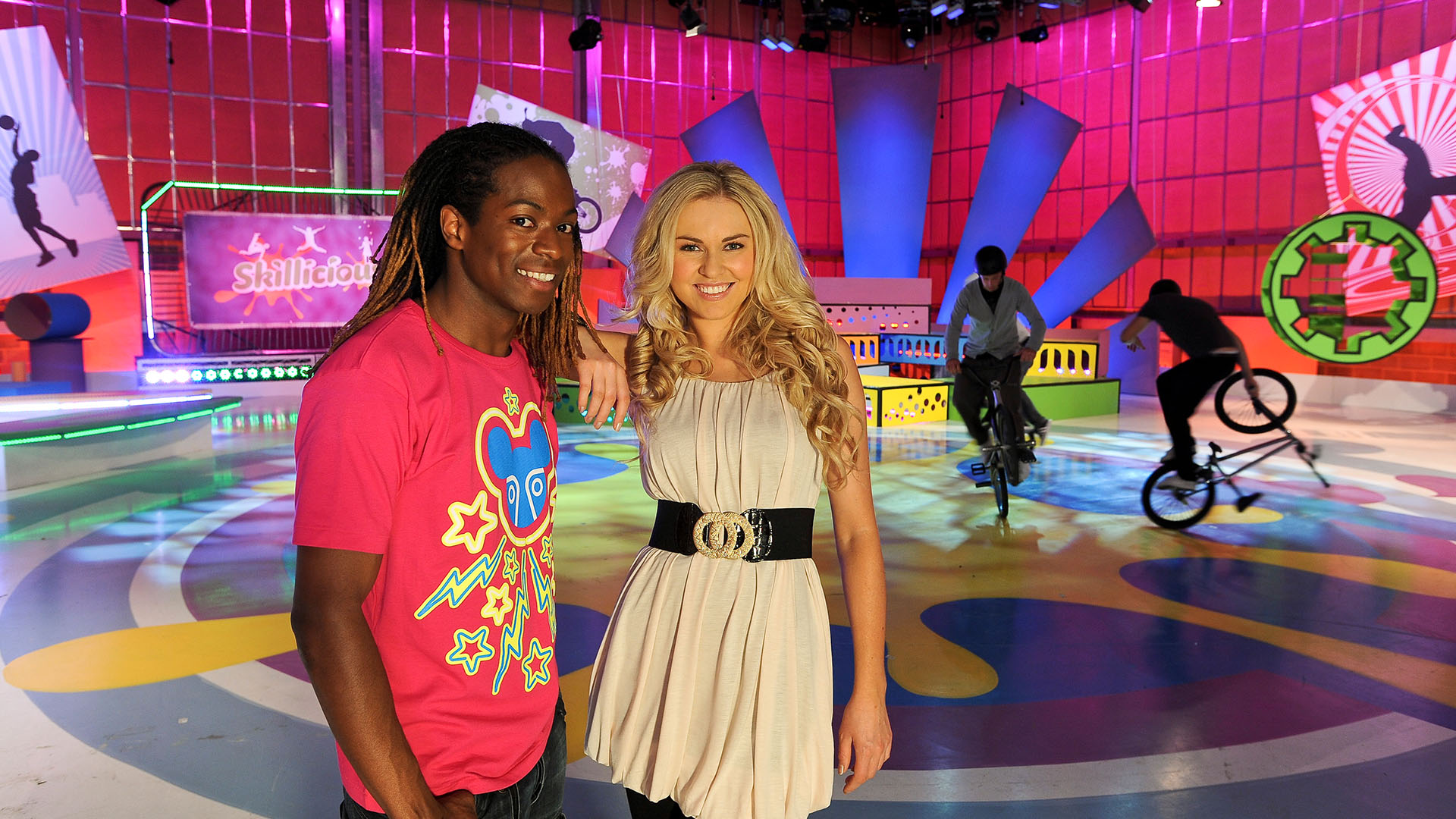 Previous Work - Citv's Skillicious - production still with presenters Nigel Clarke and Zoe Salmon