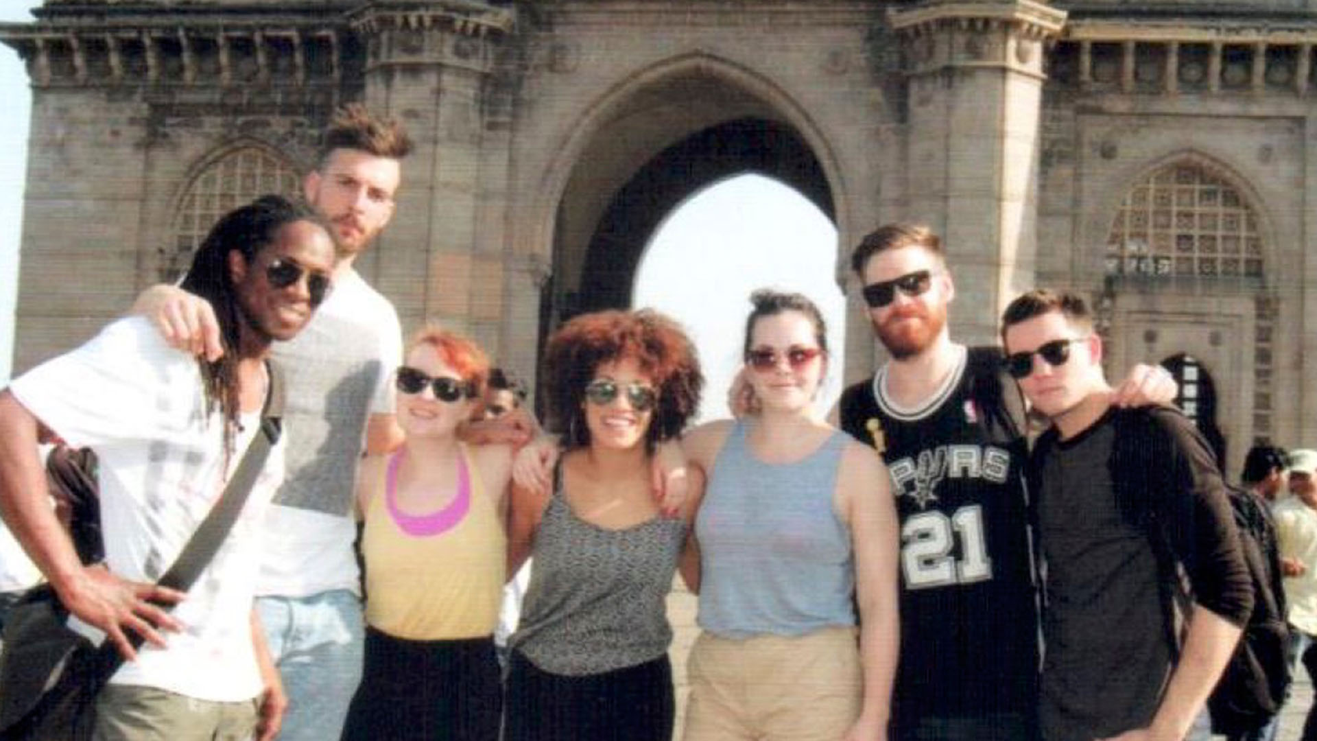 Stomp Cast members on a day off in Mumbai. Nigel Clarke, Dominik Schad, Rhona Ashwood, Louise Durand, Emma King, Simon Watts, Shae Carroll.