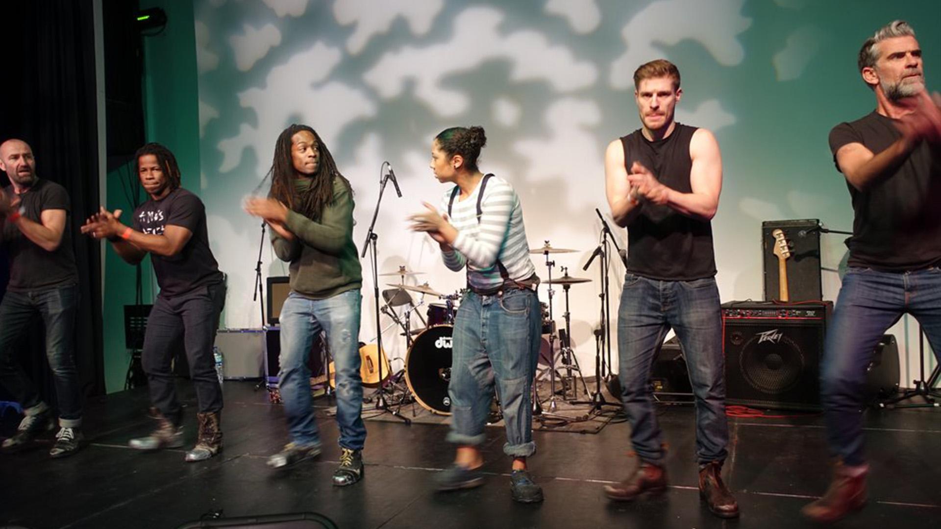 STOMP reheasing at Anno's Africa charity fundraiser. Paul Gunter, Hugo Cortes, Nigel Clarke, Serena Morgan, Rob Shaw, Fraser Morrison.
