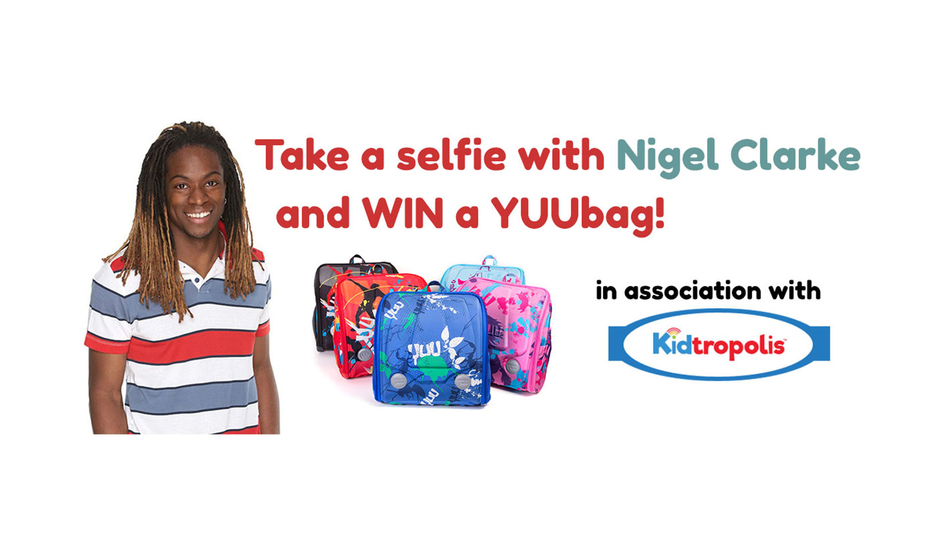 Win a YUUbag at Kidtropolis 2017 web banner with Nigel Clarke